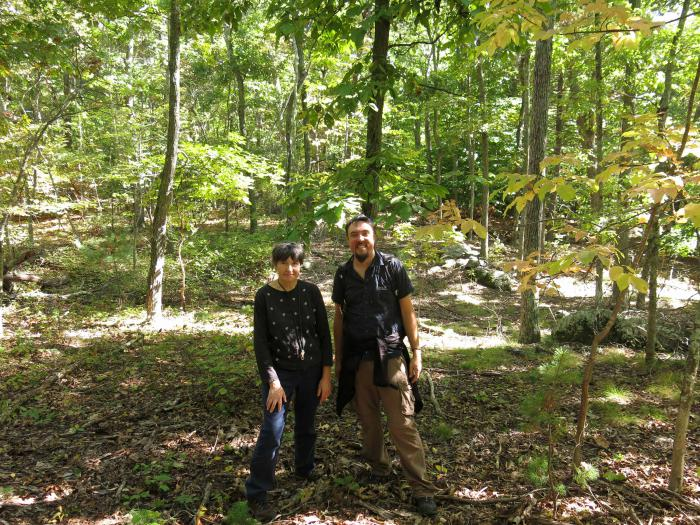 Irina Kadis, Arnold Arboretum, and Sébastien Bétrisey in front of a Carya ovata stand in the Blue Hills Reservation